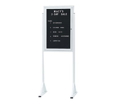 "Aarco Products FMD3624 Double Pedestal Free Standing Letter Board Cabinet, 36""H x 24""W"
