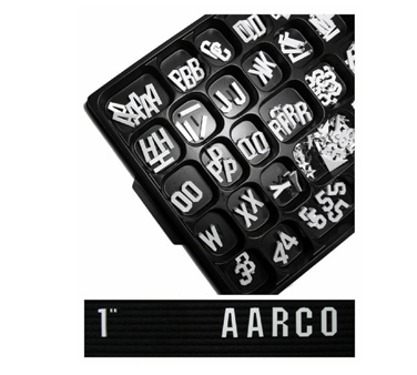 "Aarco Products GF1.0 1"" Gothic Style Universal Single Tab Changeable Typeface Letters - 165 Characters / Set"