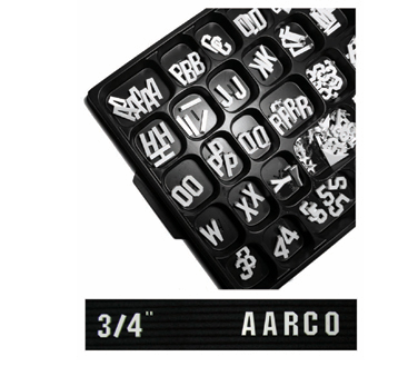 "Aarco Products GFD.75 3/4"" Gothic Style Universal Single Tab Changeable Typeface Letters - 330 Characters / Set"