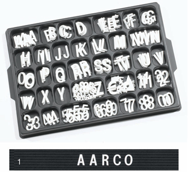 "Aarco Products HF1.0 1"" Helvetica Style Universal Single Tab Changeable Typeface Letters- 165 Characters / Set"