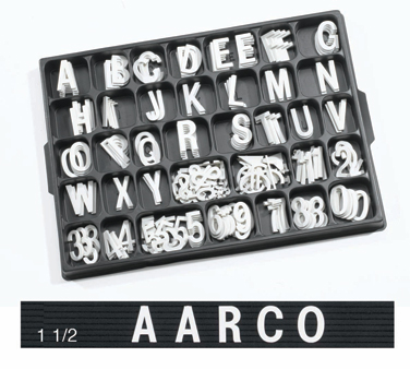 "Aarco Products HF1.5 1.5"" Helvetica Style Universal Single Tab Changeable Typeface Letters- 138 Characters / Set"