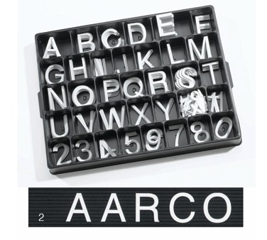 Aarco Products HF2.0 2.0 Helvetica Style Universal Single Tab Changeable Typeface Letters- 160 Characters / Set