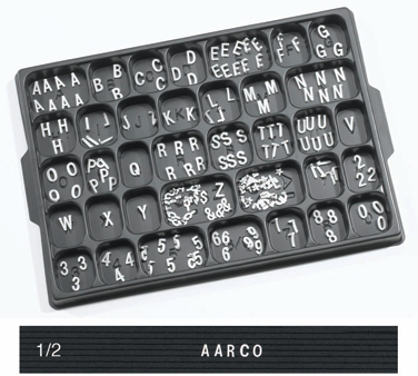 "Aarco Products HFD.50 1/2"" Helvetica Style Universal Single Tab Changeable Typeface Letters- 330 Characters / Set"