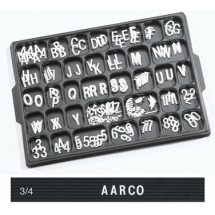 "Aarco Products HFD.75 3/4"" Helvetica Style Universal Single Tab Changeable Typeface Letters- 330 Characters / Set"