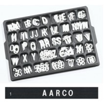 "Aarco Products HFD1.0 1"" Helvetica Style Universal Single Tab Changeable Typeface Letters- 330 Characters / Set"