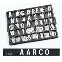 "Aarco Products HFD1.5 1.5"" Helvetica Style Universal Single Tab Changeable Typeface Letters- 276 Characters / Set"