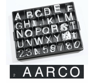 "Aarco Products HFD2.0 2"" Helvetica Style Universal Single Tab Changeable Typeface Letters- 320 Characters / Set"