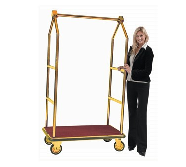 Aarco Products LC-2B Bellman's Tall Luggage Cart - Brass Finish