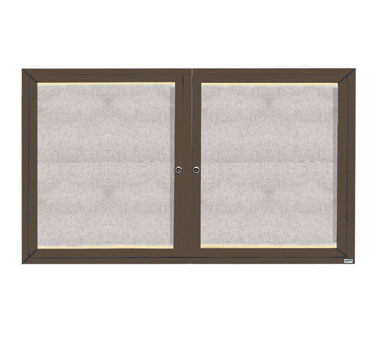 "Aarco Products LODCC3660RBA Outdoor Enclosed Aluminum Bulletin Board with LED Lighting and Bronze Anodized Finish, 36""H x 60""W"