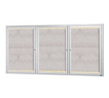 """Aarco Products LODCC3672-3R 3 Door Outdoor Aluminum Framed Enclosed Bulletin Board with LED Lighting and Satin Anodized Finish, 36""""H x 72""""W"""