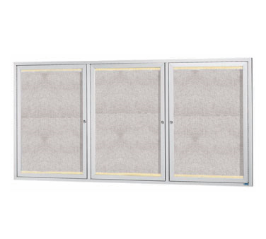 "Aarco Products LODCC3672-3R 3 Door Outdoor Aluminum Framed Enclosed Bulletin Board with LED Lighting and Satin Anodized Finish, 36""H x 72""W"