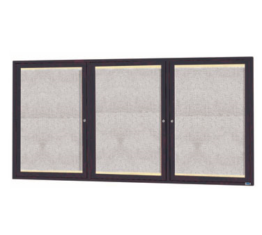 "Aarco Products LODCC3672-3RBA 3-Door Outdoor Enclosed Aluminum Bulletin Board with LED Lighting and Bronze Anodized Finish, 36""H x 72""W"