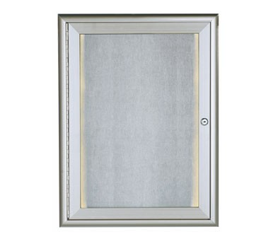 "Aarco Products LOWFC2418 LED Lighted Enclosed Bulletin Board with Aluminum Waterfall Style Silver Frame, 24""H x 18""W"
