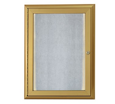 """Aarco Products LOWFC2418G LED Lighted Enclosed Bulletin Board with Aluminum Waterfall Style Gold Frame, 24""""H x 18""""W"""