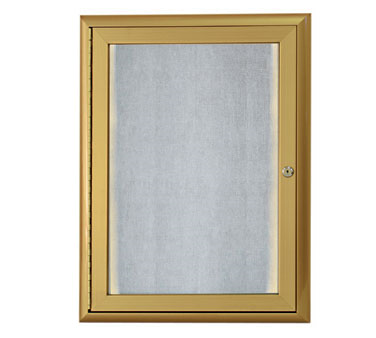 "Aarco Products LOWFC2418G LED Lighted Enclosed Bulletin Board with Aluminum Waterfall Style Gold Frame, 24""H x 18""W"