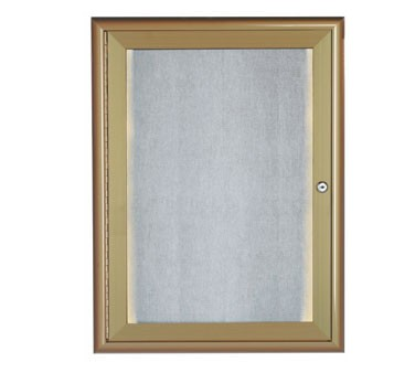 """Aarco Products LOWFC2418LB LED Lighted Enclosed Bulletin Board with Aluminum Waterfall Style Antique Brass Frame, 24""""H x 18""""W"""