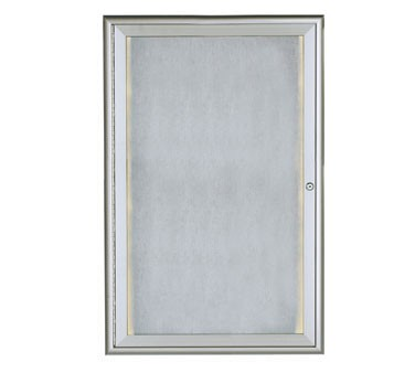 """Aarco Products LOWFC3624 LED Lighted Enclosed Bulletin Board with Aluminum Waterfall Style Silver Frame, 36""""H x 24""""W"""