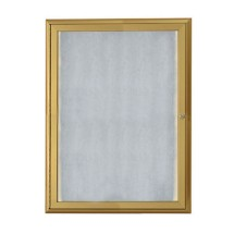 "Aarco Products LOWFC3624G LED Lighted Enclosed Bulletin Board with Aluminum Waterfall Style Gold Frame, 36""H x 24""W"