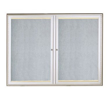 "Aarco Products LOWFC3648 LED Lighted Enclosed Bulletin Board with Aluminum Waterfall Style Silver Frame, 36""H x 48""W 2 Door Unit."