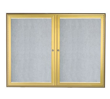 """Aarco Products LOWFC3648G LED Lighted Enclosed Bulletin Board with Aluminum Waterfall Style Gold Frame, 36""""H x 48""""W"""