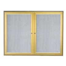 "Aarco Products LOWFC3648G LED Lighted Enclosed Bulletin Board with Aluminum Waterfall Style Gold Frame, 36""H x 48""W"