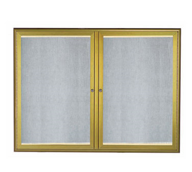 "Aarco Products LOWFC3648LB LED Lighted Enclosed Bulletin Board with Aluminum Waterfall Style Antique Brass Frame, 36""H x 48""W"