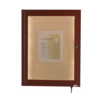 "Aarco Products LWL2418W Indoor / Outdoor LED Lighted Display Case with Walnut Wood-Look Finish 24""H x 18""W"