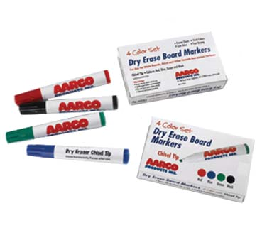 Aarco Products M-4 Dry Erase Reduced Odor Markers, Set of 4
