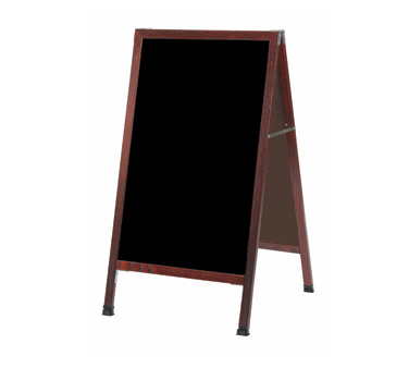 "Aarco Products MA-11 A-Frame Sidewalk Black Melamine Markerboard with Cherry Stained Solid Red Oak Frame, 42""H x 24""W"