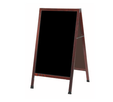 "Aarco Products MA-1B Cherry A-Frame Sign Board with Black Write On Chalkboard, 42""H x 24""W"