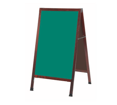 "Aarco Products MA-1G Cherry A-Frame Sidewalk Board with Green Chalkboard, 42""H x 24""W"
