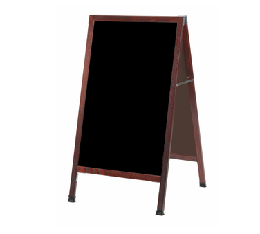 "Aarco Products MA-1P A-Frame Sidewalk Black Acrylic Board with Cherry Stained Solid Red Oak Frame, 42""H x 24""W"