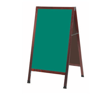 "Aarco Products MA-1SG A-Frame Green Porcelain Sidewalk Chalkboard with Cherry Stained Solid Red Oak Frame, 42""H x 24""W"