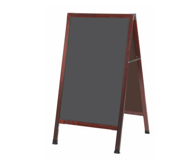 Aarco Products MA-1SS A-Frame Slate Porcelain Sidewalk Chalkboard with Cherry Stained Solid Red Oak Frame, 42''H x 24''W