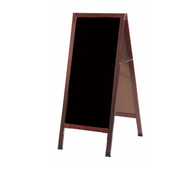 "Aarco Products MA-311 A-Frame Sidewalk Black Melamine Markerboard with Cherry Stained Solid Red Oak Frame, 42""H x 18""W"