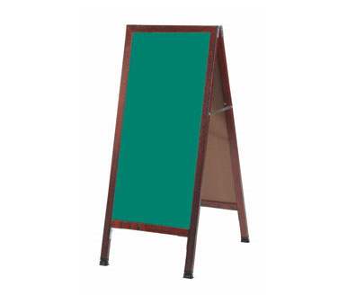 "Aarco Products MA-311SG A-Frame Green Porcelain Sidewalk Chalkboard with Cherry Stained Solid Red Oak Frame, 42""H x 18""W"