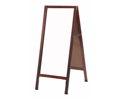 "Aarco Products MA-35 A-Frame Sidewalk White Melamine Markerboard with Cherry Stained Solid Oak Red Frame, 42""H x 18""W"