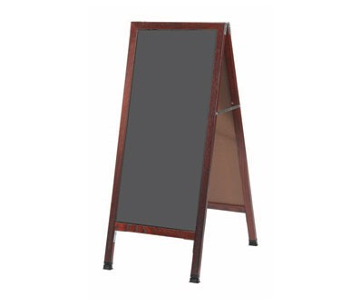 "Aarco Products MA-35SS  Cherry A-Frame Sidwalk Board with Slate Gray Write-On Porcelain Chalkboard, 42""H x 18""W"