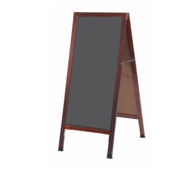"Aarco Products MA-35SS A-Frame Slate Porcelain Sidewalk Chalkboard with Cherry Stained Solid Red Oak Frame, 42""H x 18""W"
