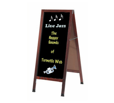 "Aarco Products MA-3B A-Frame Black Composition Sidewalk Chalkboard with Cherry Stained Solid Red Oak Frame, 42""H x 18""W"