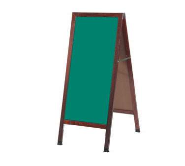 "Aarco Products MA-3G A-Frame Green Composition Sidewalk Chalkboard with Cherry Stained Solid Red Oak Frame, 42""H x 18""W"