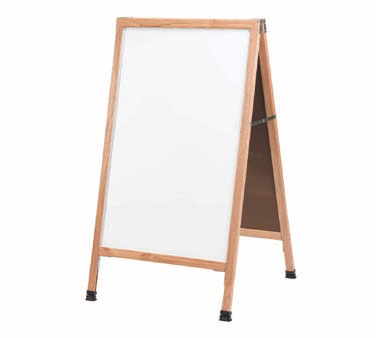 "Aarco Products MA-5 A-Frame Sidewalk White Melamine Markerboard with Cherry Stained Solid Oak Frame, 42""H x 24""W"