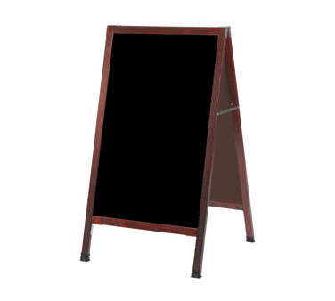 "Aarco Products MA-5SB A-Frame Sidewalk Black Porcelain Markerboard with Cherry Stained Solid Red Oak Frame, 42""H x 24""W"