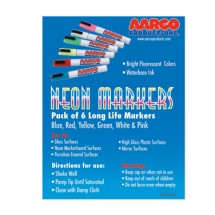 Aarco Products MFL-6 Dry Erase Neon Markers, 6 Pack
