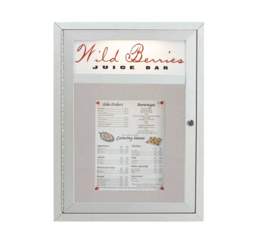 "Aarco Products MSC2418H Main Street Style Aluminum Frame Enclosed Bulletin Board with Header, 24""H x 18""W"