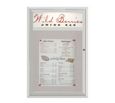"""Aarco Products MSC3624H Main Street Style Aluminum Frame Enclosed Bulletin Board with Header, 36""""H x 24""""W"""