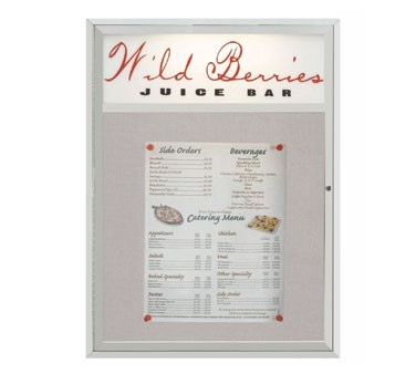 """Aarco Products MSC4836H Main Street Style Aluminum Frame Enclosed Bulletin Board with Header, 48""""H x 36""""W"""