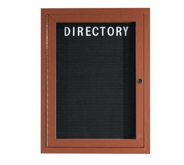 "Aarco Products OADCO2418L Enclosed Outdoor Aluminum Directory Board with Oak Wood Look Finish, 24""H x 18""W"