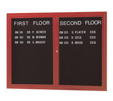 "Aarco Products OADCW3648L Enclosed Outdoor Aluminum Directory Board with Cherry Wood Look Finish 36""H x 48""W"