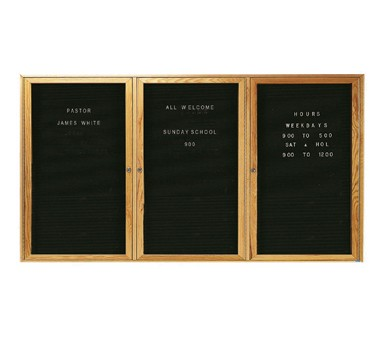 """Aarco Products ODC3672-3L Oak Frame Enclosed Message Center Board, 36""""H x 72""""W"""